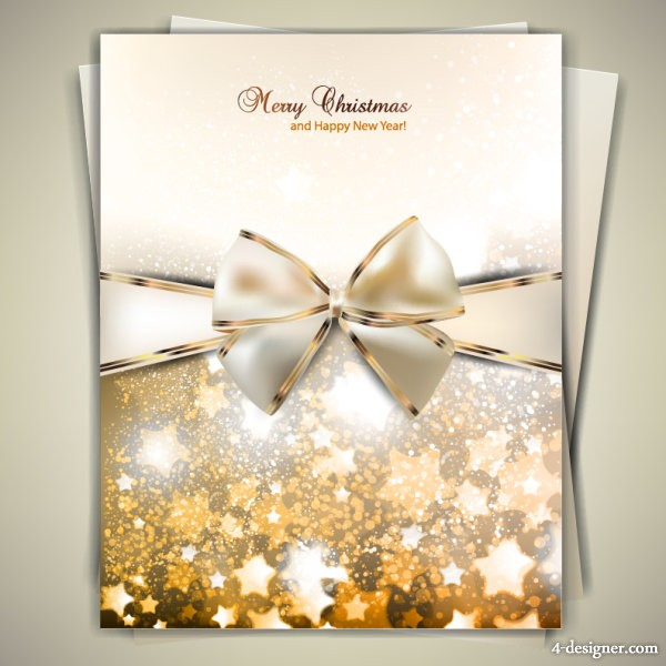 Golden bow card 07   vector material