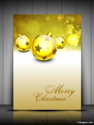 Golden holiday card 01   vector material