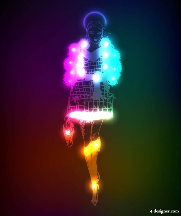 Gorgeous neon beauty silhouette 02   vector material