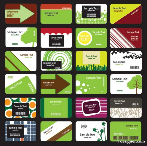 Green theme card template vector material