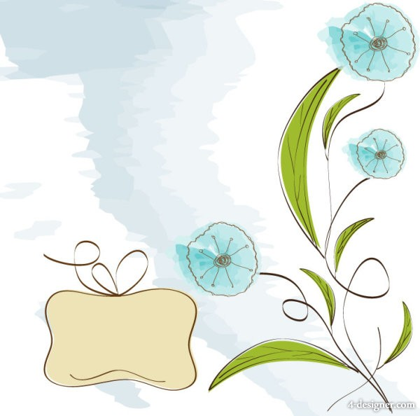 Hand painted flowers hand painted background 04   vector material