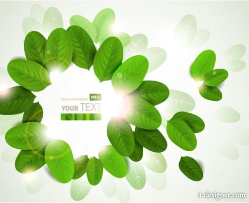Leafy green card 03 vector material