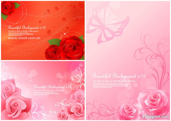 Pink roses background vector material exquisite roses 3