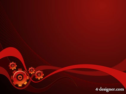 Red dynamic lines background with gear