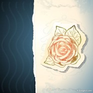 Retro rose stickers 05   Vector
