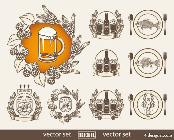 Standard beer stickers 04 Vector