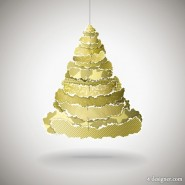 Tear Off patchwork Christmas Tree 01 Vector