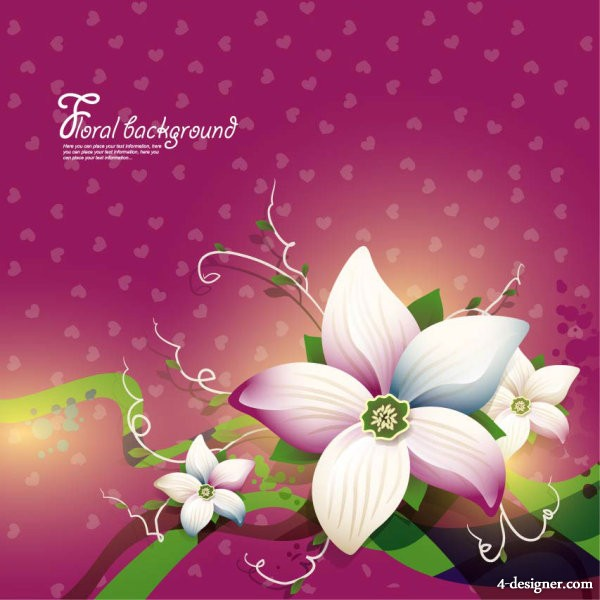 The beautifully floral design background 02   vector material