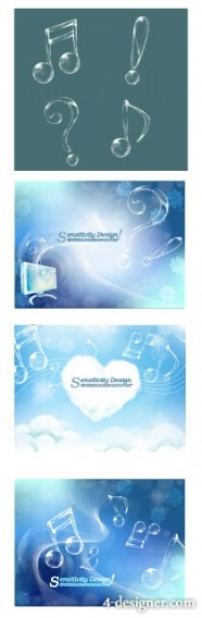 Transparent notes with fantasy background vector