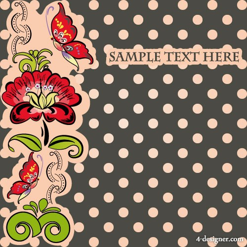 Vector flowers background 01   vector material