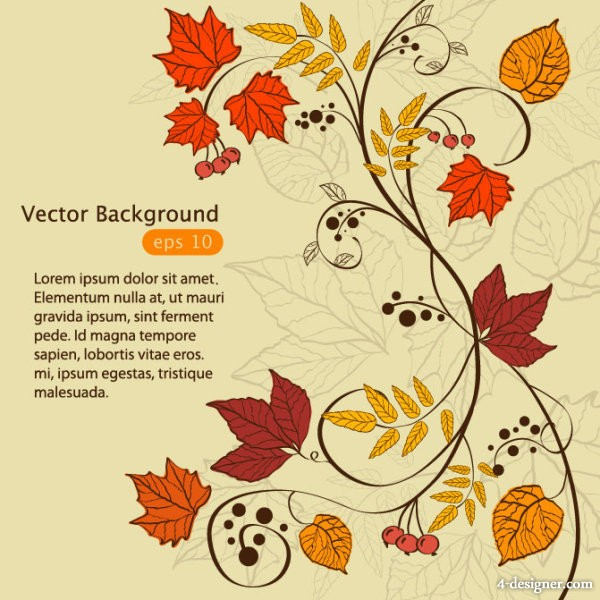 Vector hand painted maple leaf background 04   vector material