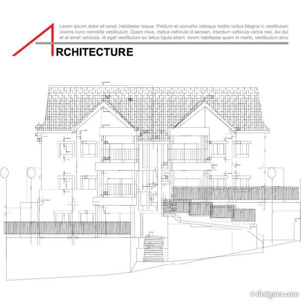 Vector houses architectural drawing 04   vector material