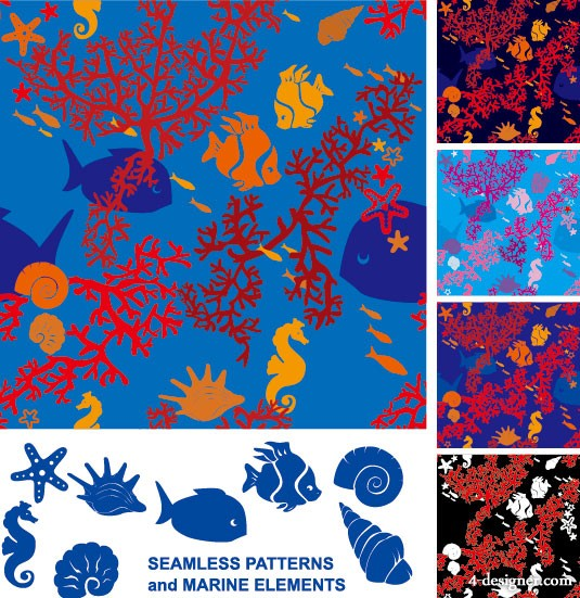 Vector marine life silhouette 01   vector material