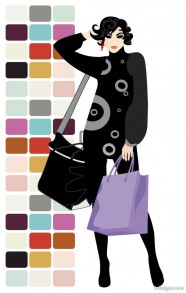 Vector material fashion shopping beauty silhouette 05   vector material