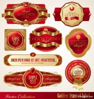 Vector red gold framed labels   Vector