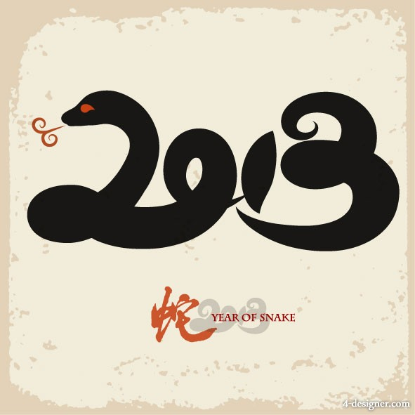 Year of the Snake creative background Vector   Vector