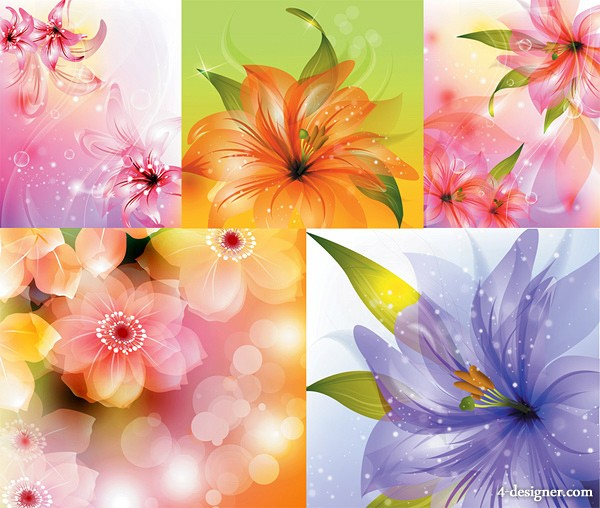 blooming flowers background vector material