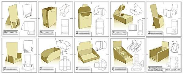 10 models of packaging design and die cutter file vector material