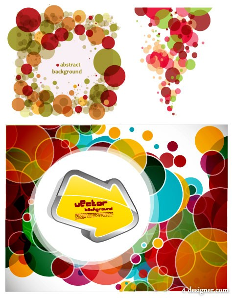 3 colorful circles on background vector material