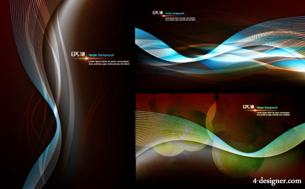 3 models dream dynamic lines background vector material