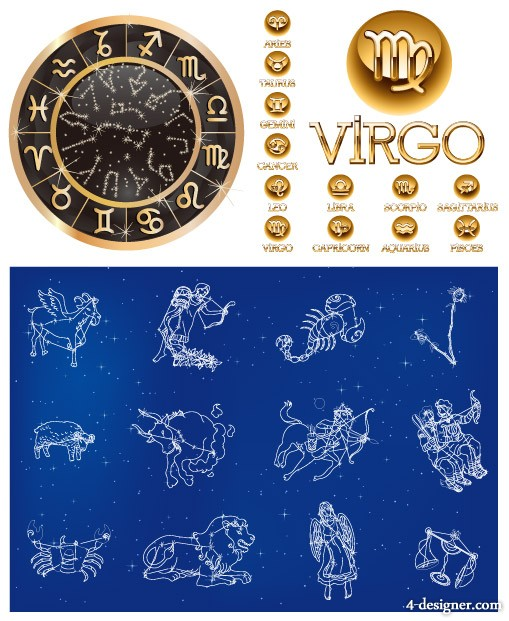 3 sets of 12 constellation vector material