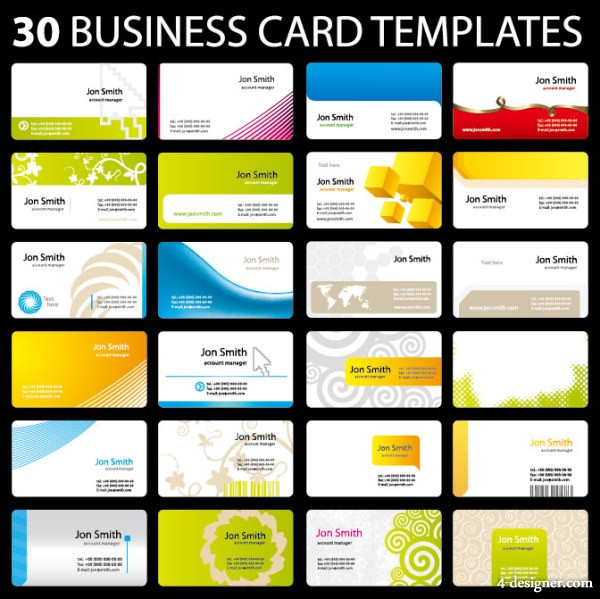30 models of practical card template vector material