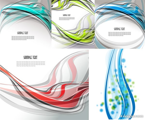 5 beautiful dynamic lines background vector material