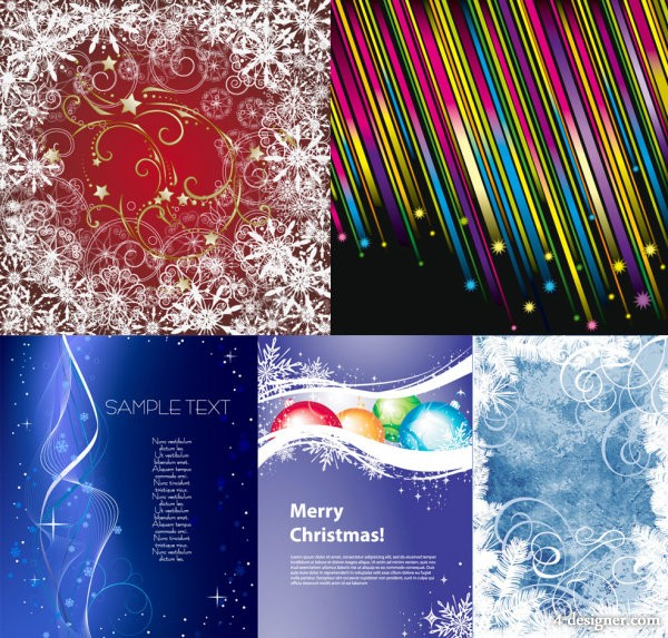 5 paragraph colorful Christmas background vector material