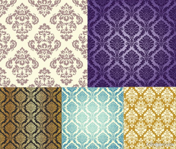 5 paragraph gorgeous pattern background vector material