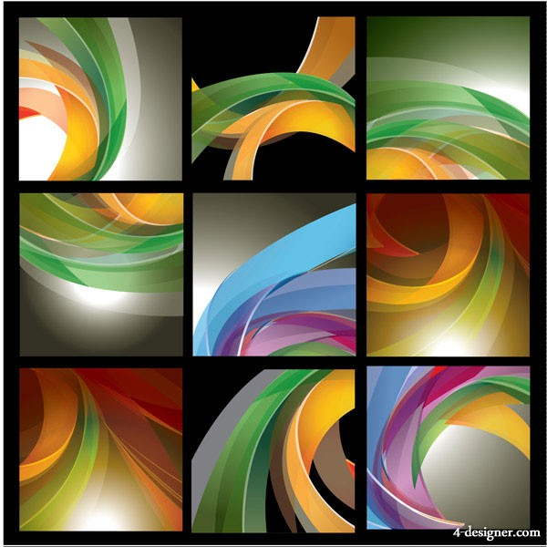 9 models of three dimensional dynamic lines background vector material