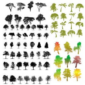 A variety of trees silhouette vector material Vector