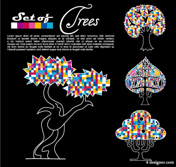 Abstract trees background vector material 01 vector material