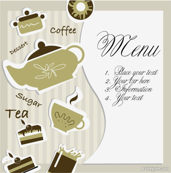 Afternoon Tea cards 01 Vector