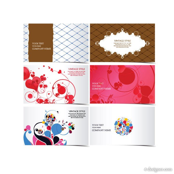 Beautiful fashion pattern business card templates vector material