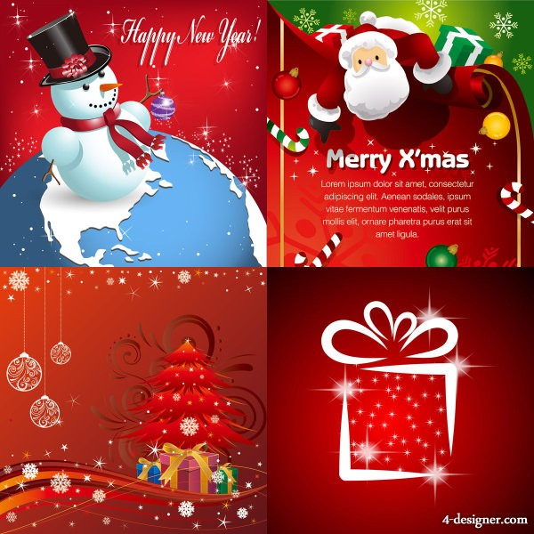 Beautifully exquisite Christmas ornaments with background vector material