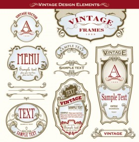 Beautifully ornate label bottle stickers 03 Vector