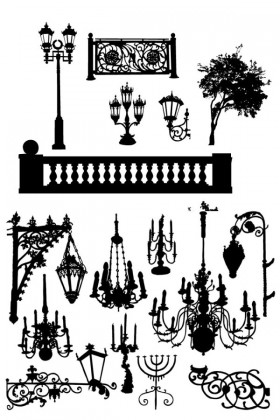 Black and white lamps silhouettes vector material Vector