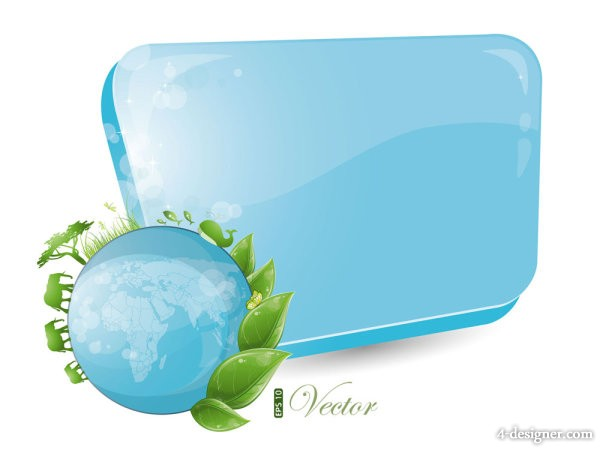 Blue and green of the dialog box 02 vector material