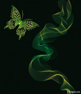 Brilliant neon butterfly 04 vector material
