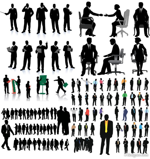 Business white collar office silhouette vector material