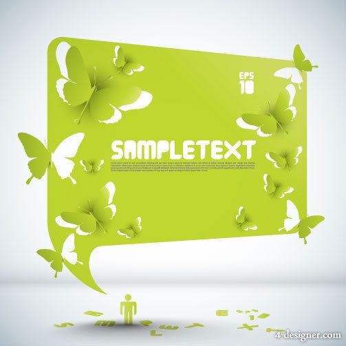 Butterfly paper cutting with the dialog box 01 vector material