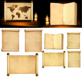 Candlelight and ancient books of paper roll Vector