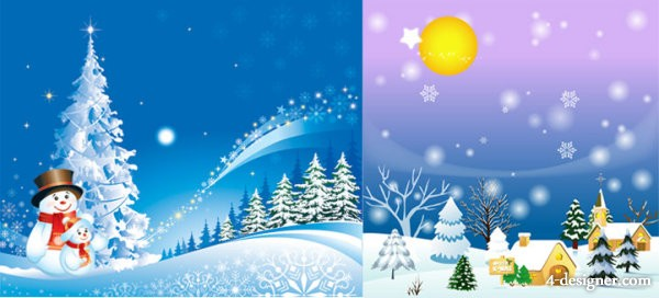 Cartoon Christmas background Vector Vector