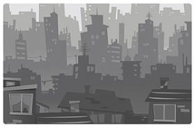 Cartoon style city silhouette vector material