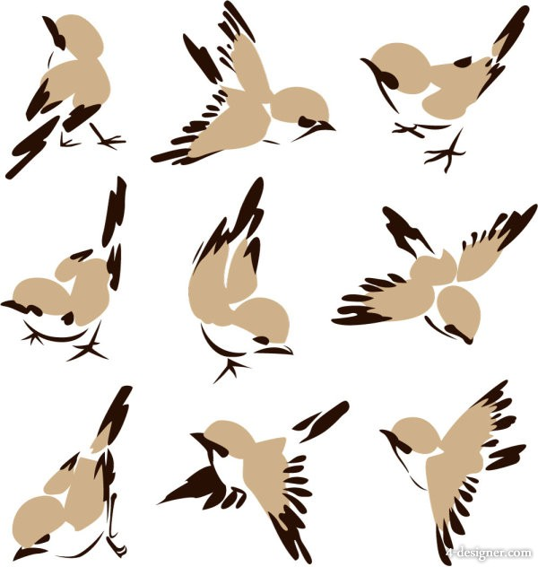 Chinese painting bird 01 vector material