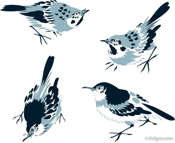Chinese painting bird 02 vector material