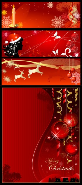 Christmas background banner vector material Vector