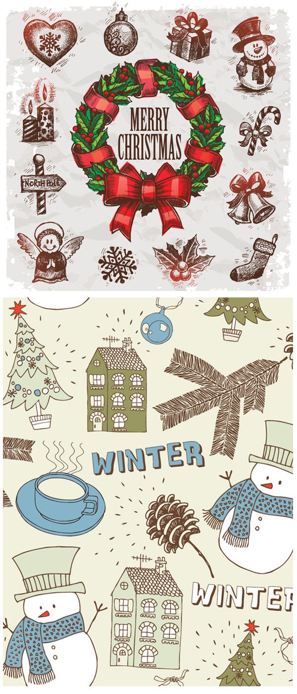 Christmas hand painted ornaments Vector