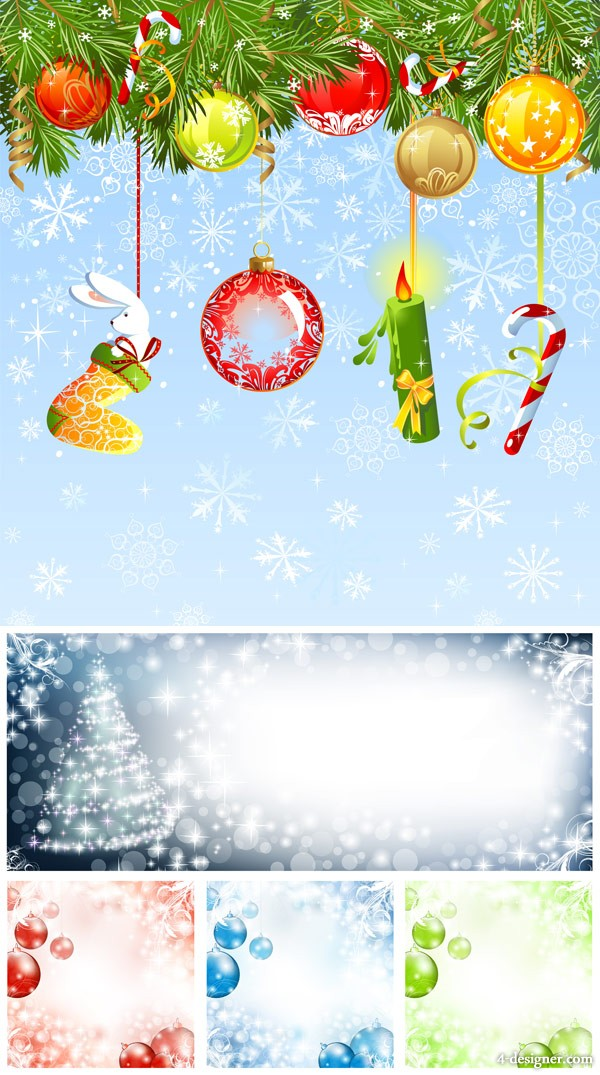 Christmas jewelry with background vector material