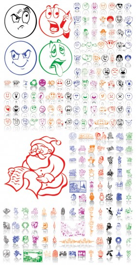 Christmas ornaments and facial expressions Vector